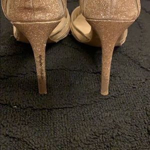 Anne Michelle Shoes - Rose gold glitter heels